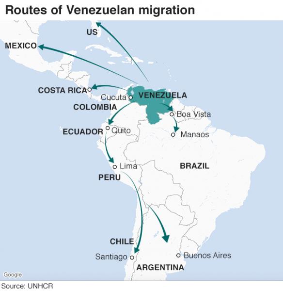 مردم ونزوئلا بخاطر تورم به کدام کشورها مهاجرت می کنند؟